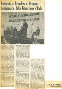 CELEBRATO A BRUXELLES IL 34° ANNIVERSARIO DELLA LIBERAZIONE D ITALIA Sole d'Italia 1979