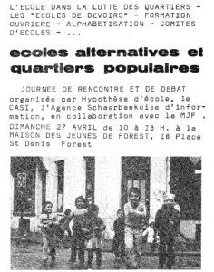 ECOLES ALTERNATIVES ET QUARTIERS POPULAIRES affiche journee de rencontre et de debat 1975-page-001