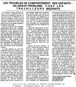 LES TROUBLES DE COMPORTEMENT DES ENFANTS-UN GRAVE PROBLEME CHEZ LES TRAVAILLEURS MIGRANTS 1979