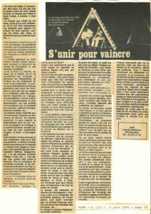 S'UNIR POUR VAINCRE article POUR 1976