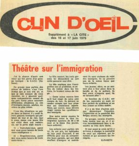 THEATRE SUR L IMMIGRATION La Cité 1979