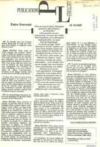 ENTRE SOUVENIR ET AVENIR article defipresse 1991