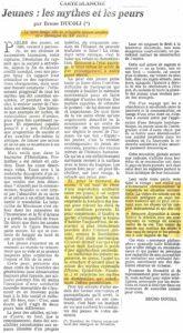 JEUNES, LES MYTHES ET LES PEURS article par Bruno Ducoli 1985