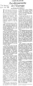 LA DECOUVERTE DE L'EUROPE article Le Soir 1988