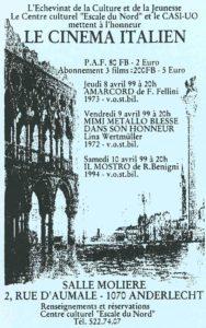 LE CINEMA ITALIEN 1999