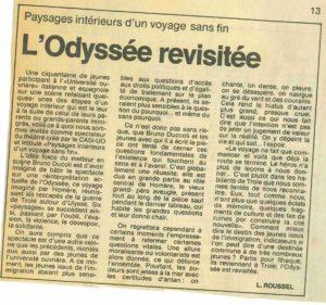 L'ODYSSEE REVISITEE article LA CITE 21 mars 1986
