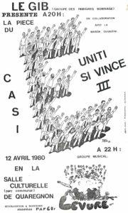 affiche UNITI SI VINCE 3 - Quaregnon 1980