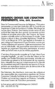 LA PIAZZA N.57 Avril 1997 regards croisés sur l'education permanente