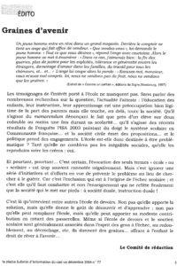 LA PIAZZA N.77 Décembre 2004 éditorial Graines d avenir