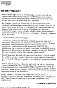 LA PIAZZA N.80 Juin 2006 éditorial Rester vigilant