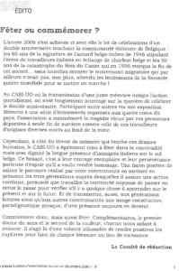 LA PIAZZA N.81 Décembre 2006 éditorial Feter ou commemorer