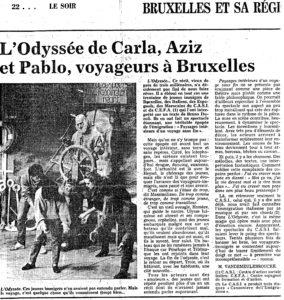 L'ODYSSEE DE CARLA, AZIZ ET PABLO, VOYAGEURS A BRUXELLES article LE SOIR